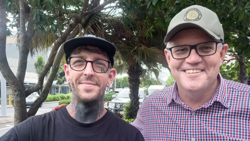 Nate from Cairns City Tattoo and Prime Minister Scott Morrison